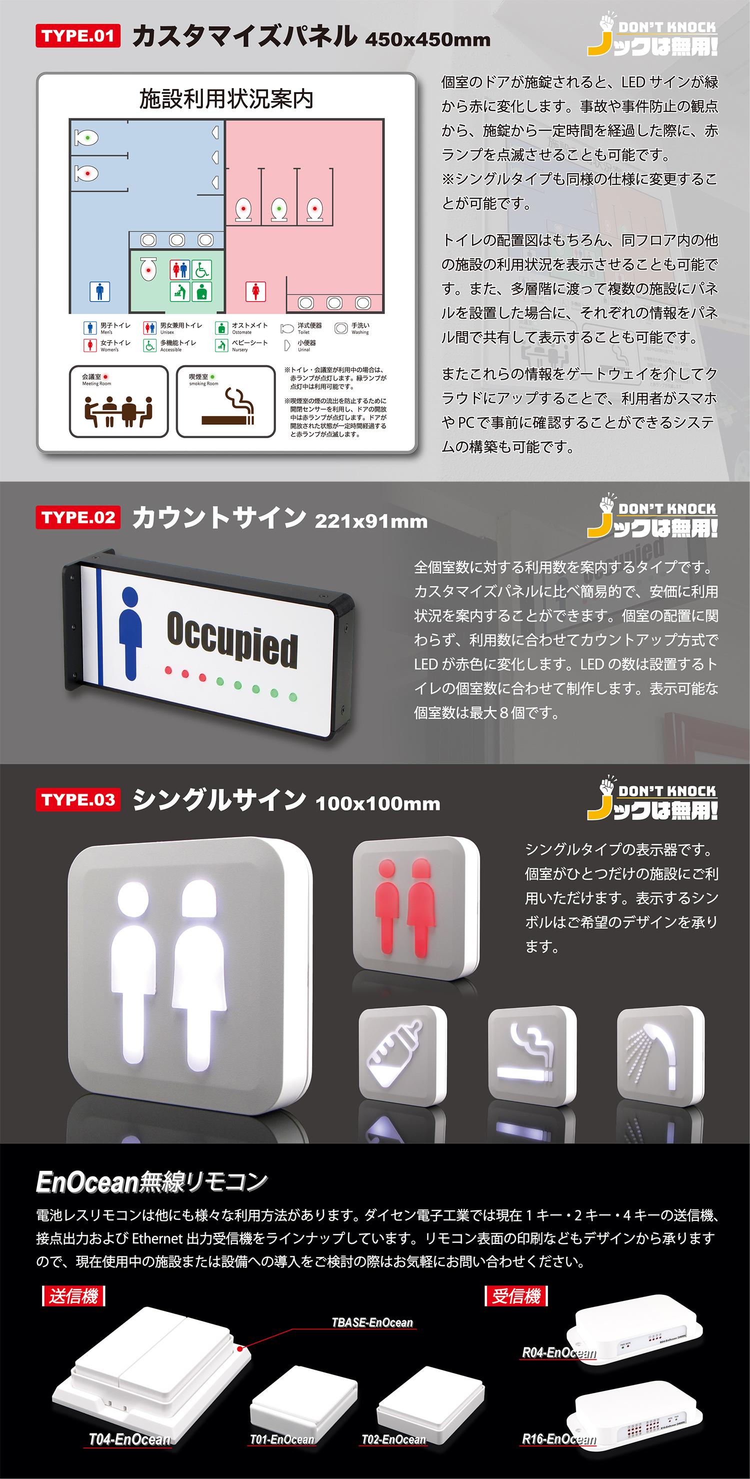 トイレなどの施設の利用状況がひと目でわかる『ノックは無用!』カタログ